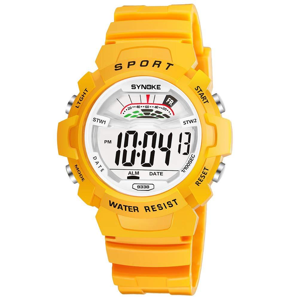 Bestow Reloj Impermeable para Ni?os Escuela Primaria Ni?os Reloj para Resistente a los Saltos y Luces LED de Pulsera con Fecha Digital(Amarillo): Amazon.es: ...