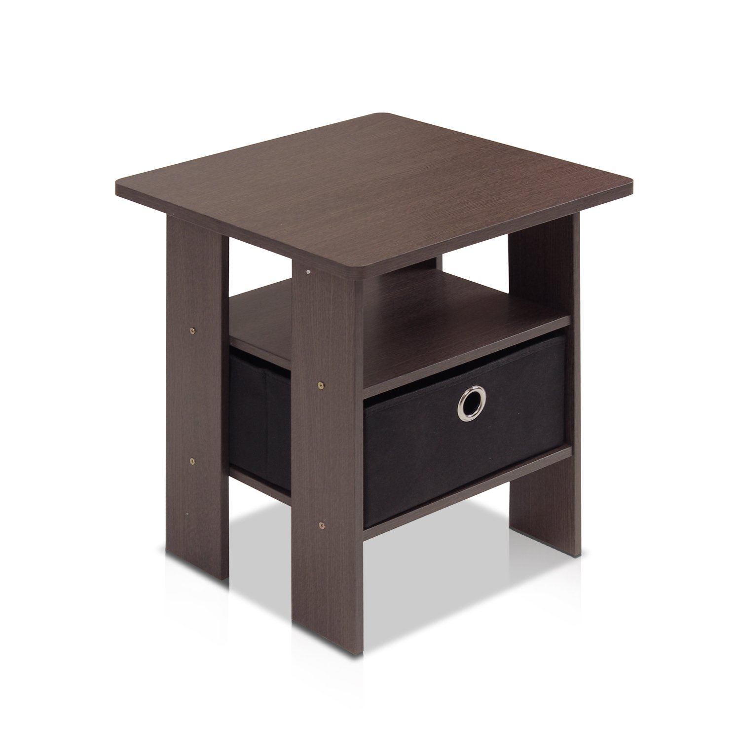 Furinno 11157DBR/BK End Table Bedroom Night Stand w/Bin Drawer, Dark Brown/Black