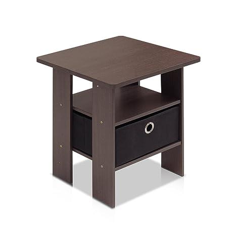 Amazon.com: Furinno 11157DBR/BK End Table Bedroom Night Stand w ...