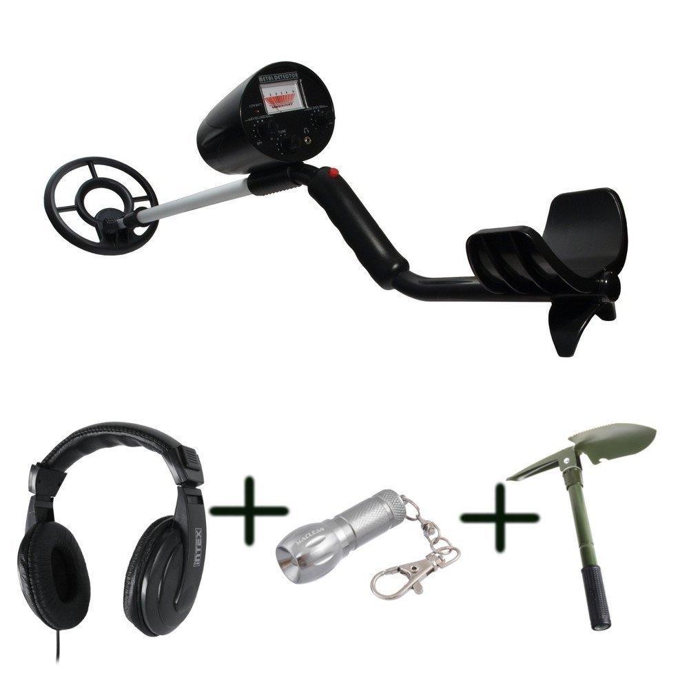 El kit para aventureros - detector de metales MCE952, Auriculares con micrófono, Pala, LLavero linterna LED: Amazon.es: Bricolaje y herramientas