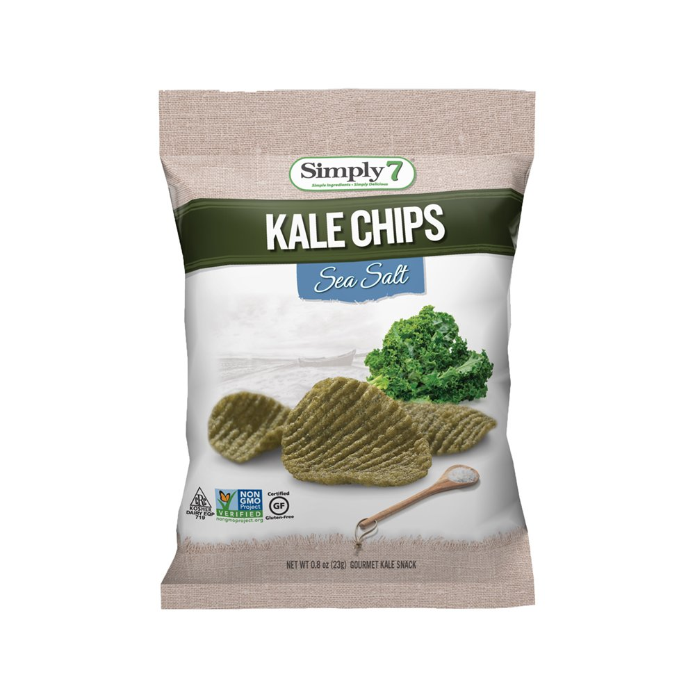 Simply7 Gluten Free Kale Chips, Sea Salt, 0.8 Ounce (Pack of 24)