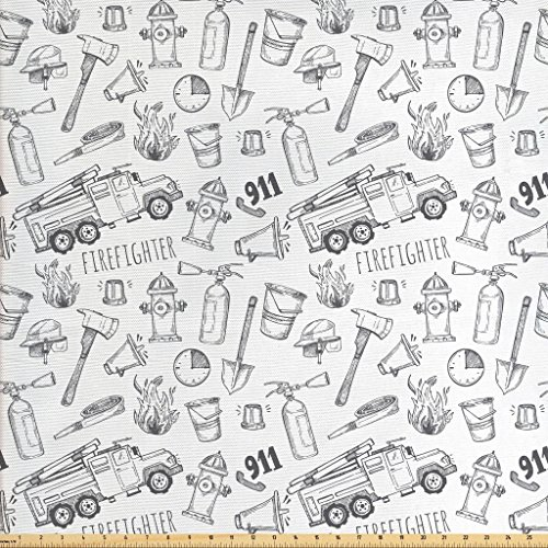 - Lunarable Fire Truck Fabric by The Yard, Hand Drawn Style Firefighter Pattern Emergency Icons Rescue Mission, Decorative Fabric for Upholstery and Home Accents, Charcoal Grey and White