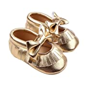 Usstore 1 Pair Kid Infant Baby Toddler Newborn Bowknot Casual Shoes (0~6 Month, Gold)