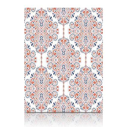Amazon.com: Canvas Print Wall Art Blue Orange Floral Ornament ...