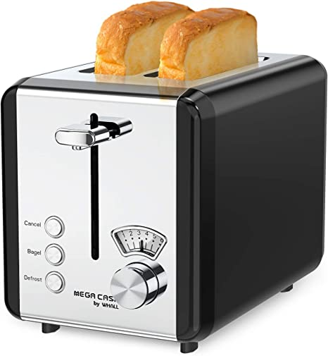 Toaster 2 Slice Best Rated Prime 2 Slice Toaster Extra Wide Slot for Bread Toasted with 7 Shade Settings Removable Crumb Tray Defrost//Bagel//Cancel Functions