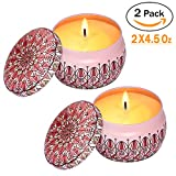 Eyansda Scented Candles Set of Rose, Eco-Friendly Pure Soy Wax for Stress Relief and Aromatherapy, Protable Travel Candle-2 Pack