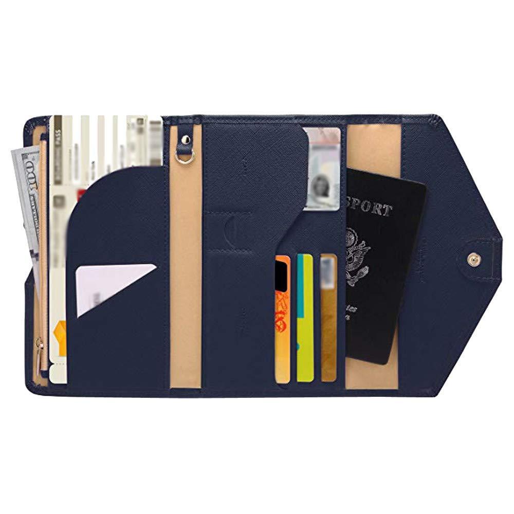 Outsta Passport Wallet Multi-Purpose Travel Passport Wallet Tri-fold Document Organizer Holder Men Women (Dark Blue)