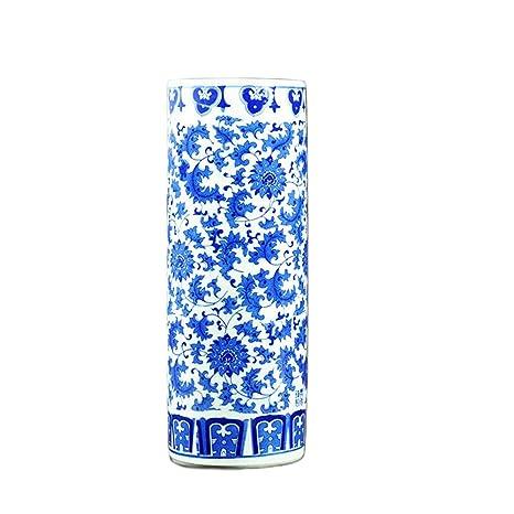 Amazon.com: Azul y blanco Jarrón de porcelana hecho a mano y ...
