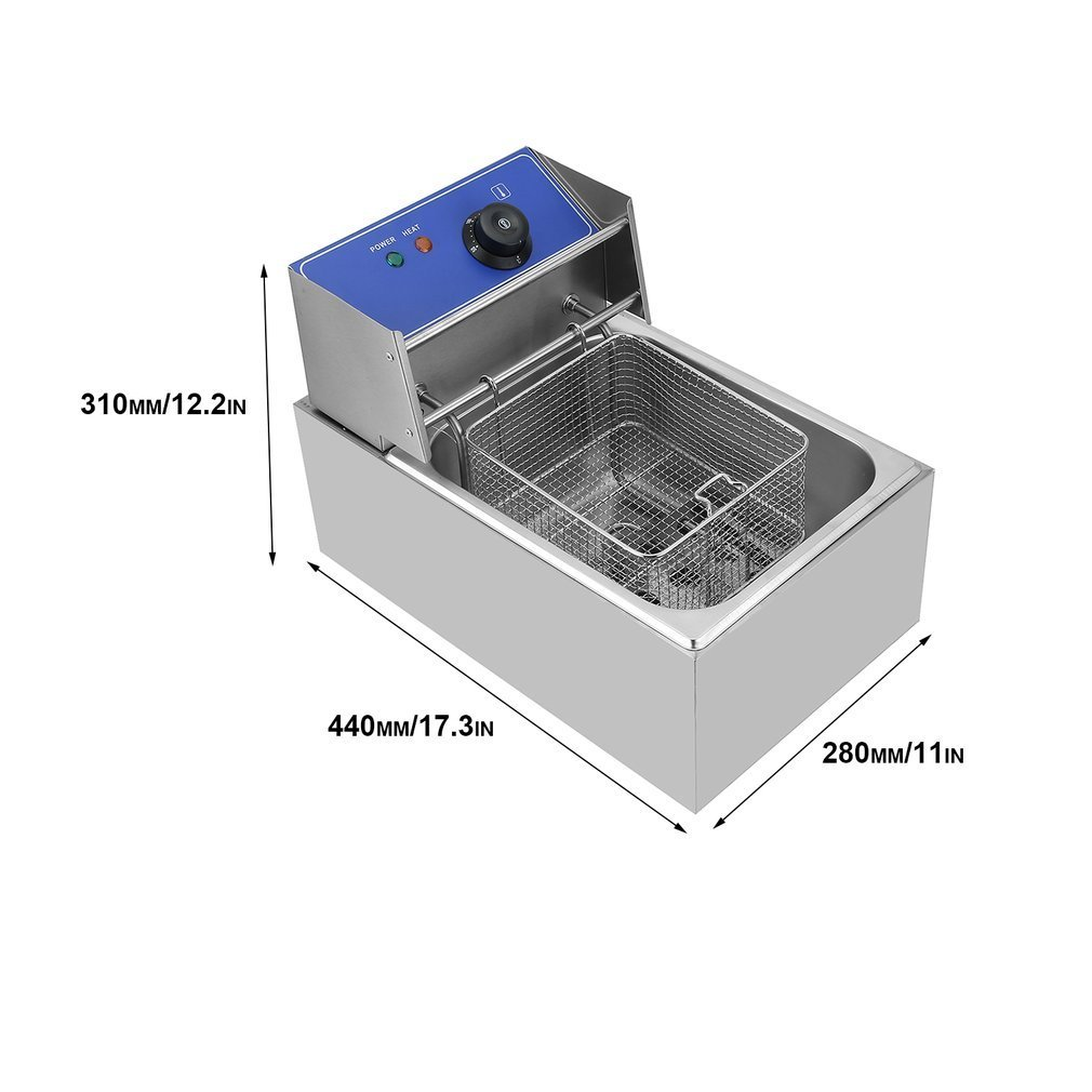 niceao comerciales - Freidora eléctrica Acero inoxidable freidora único, Tank, Deep Fryer, 6L, con sistema de filtro, ölbehalter para cocina Gastronomía: ...
