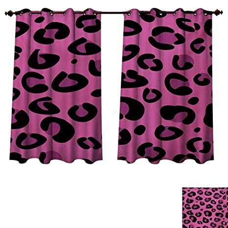 Rupperttextile Hot Pink Blackout Curtains Panels For Bedroom Leopard Animal Skin Pattern In Abstract Style Wild