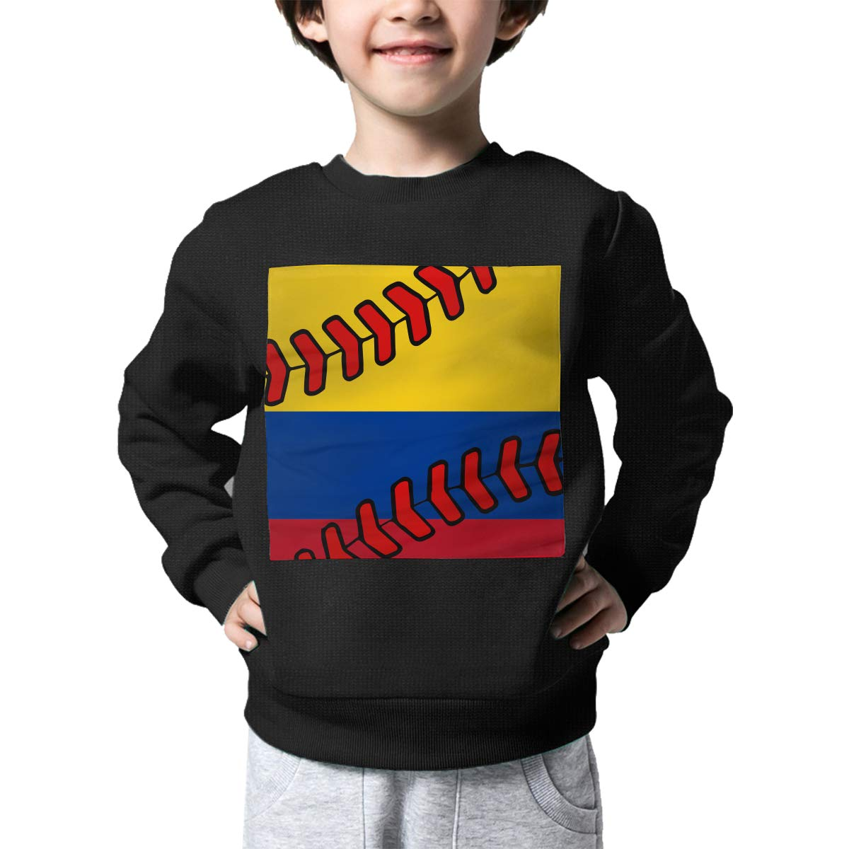 Boys Girls Colombia Flag Baseball Clip Art Lovely Sweaters Soft Warm Kids Sweater
