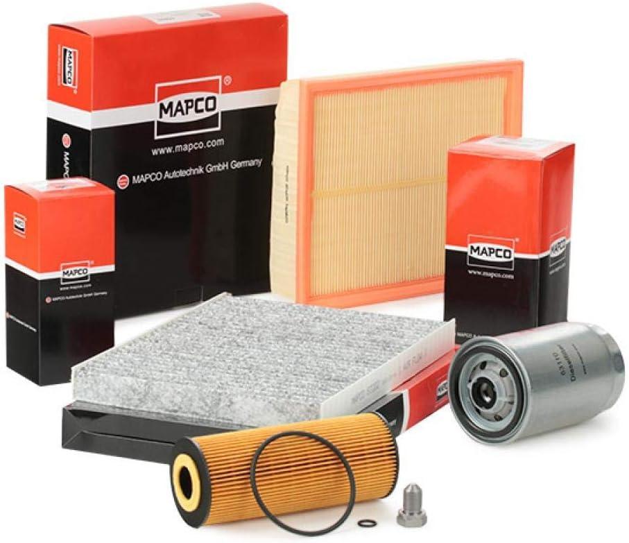 Mapco 68904 Inspektionspaket Ölfilter Luftfilter Innenraumfilter Kraftstofffilter Ölablaßschraube Auto