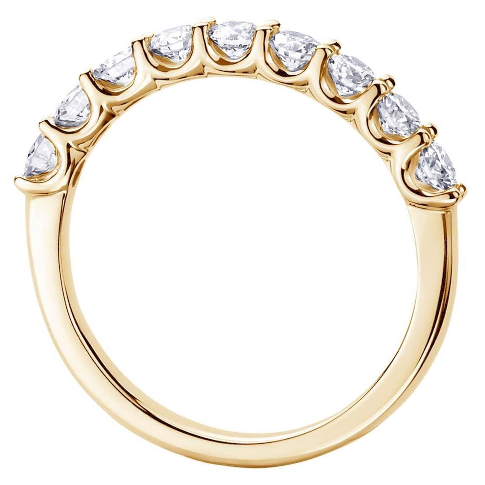 VIP Jewelry Art 0.75 CT TW U-Prong 9-Stone Diamond Wedding Ring in 18k Yellow Gold - Size 4.5