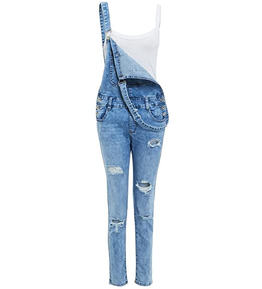 Womens Relaxed Fit Stretch Denim Dungaree Blue Size 6 8 10 12 14 16 Ladies  Dungarees 6a2f2ecc83b0