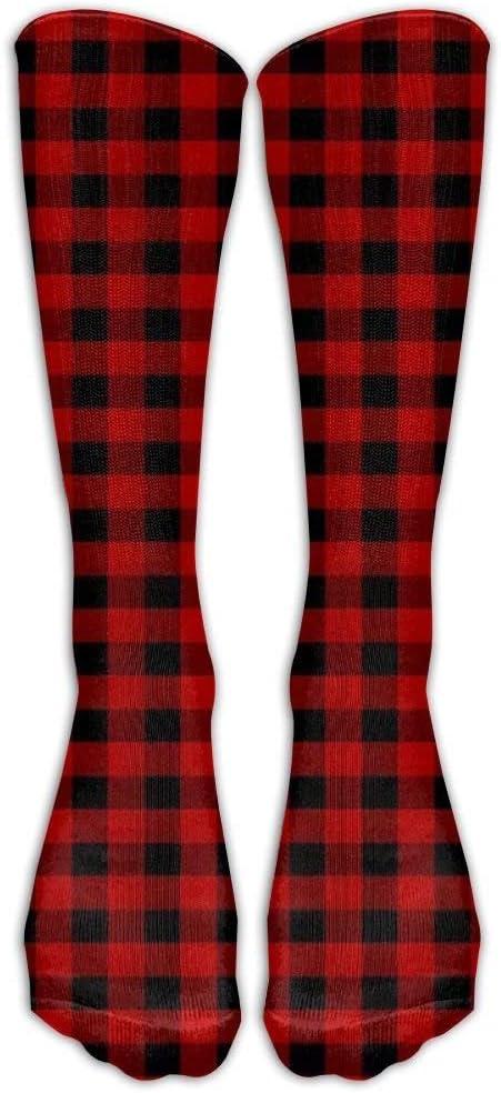HNJZ-GS Medias Personalizadas R/ústico Rojo Negro B/úfalo Compruebe Patr/ón de Tela Escocesa Unisex Rodilla al Aire Libre Calcetines Largos Largos