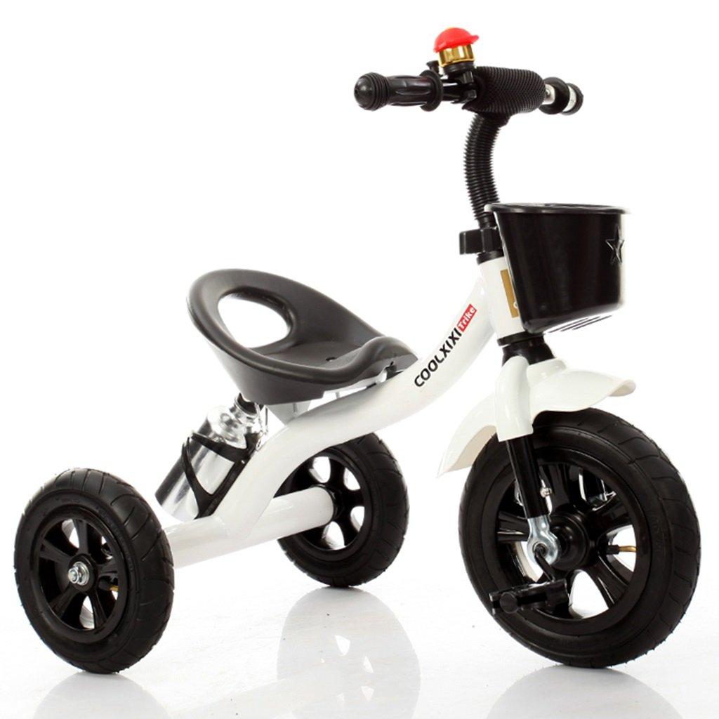 HAIZHEN マウンテンバイク 子供の三輪車のスチールフレーム泡ホイール自転車2-4歳の赤ちゃんのおもちゃの車71 * 48 * 58センチメートル 新生児 B07DL4JJDS 白 白