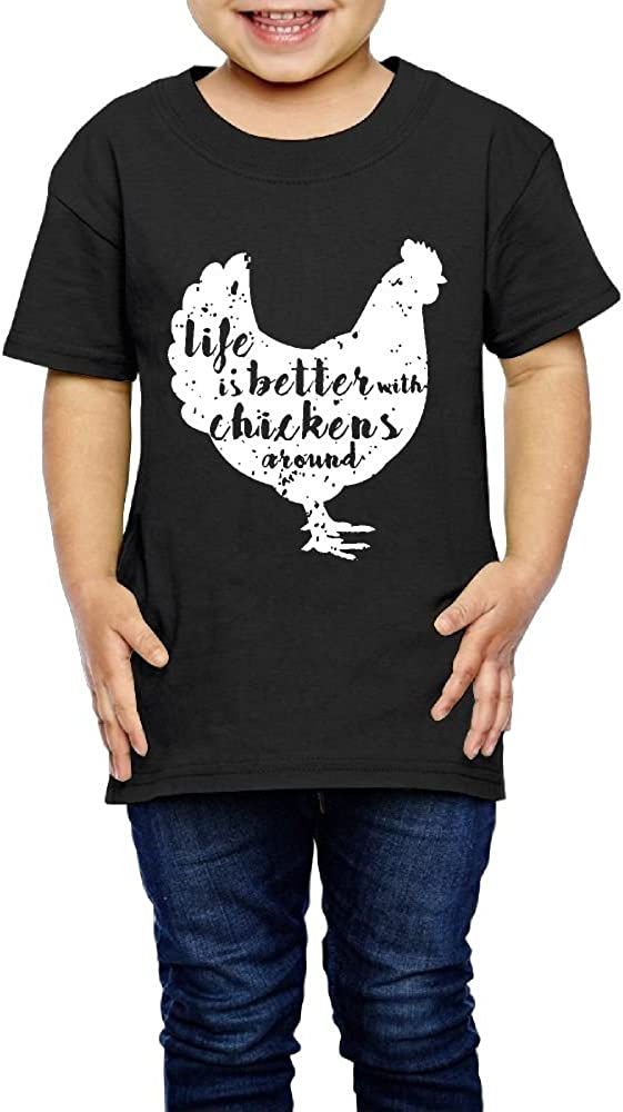 2-6 Years Old Kcloer24 Life is Better with Chickens Around Unisex Toddler Organic T-Shirt Graphic Tee