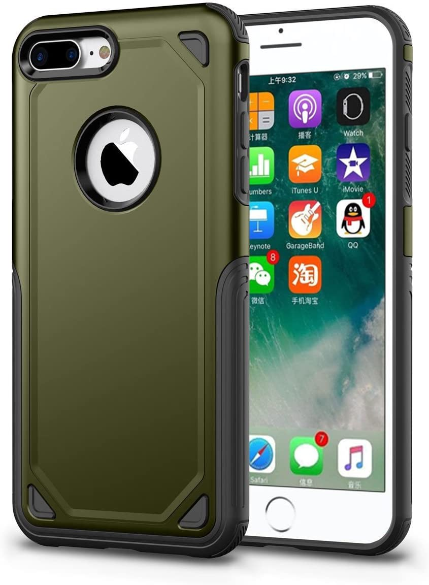 FastSun iPhone 8 Plus Case, Slim Silicone TPU + PC Dual Layer Protection Hard Case Hybrid Shockproof Drop Proof Case Cover for Apple iPhone 8 Plus (Army Green)