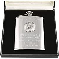 30th Birthday Gift, Stainless Steel Engraved Hip Flask with Pewter Rugby Feature in a Gift Box