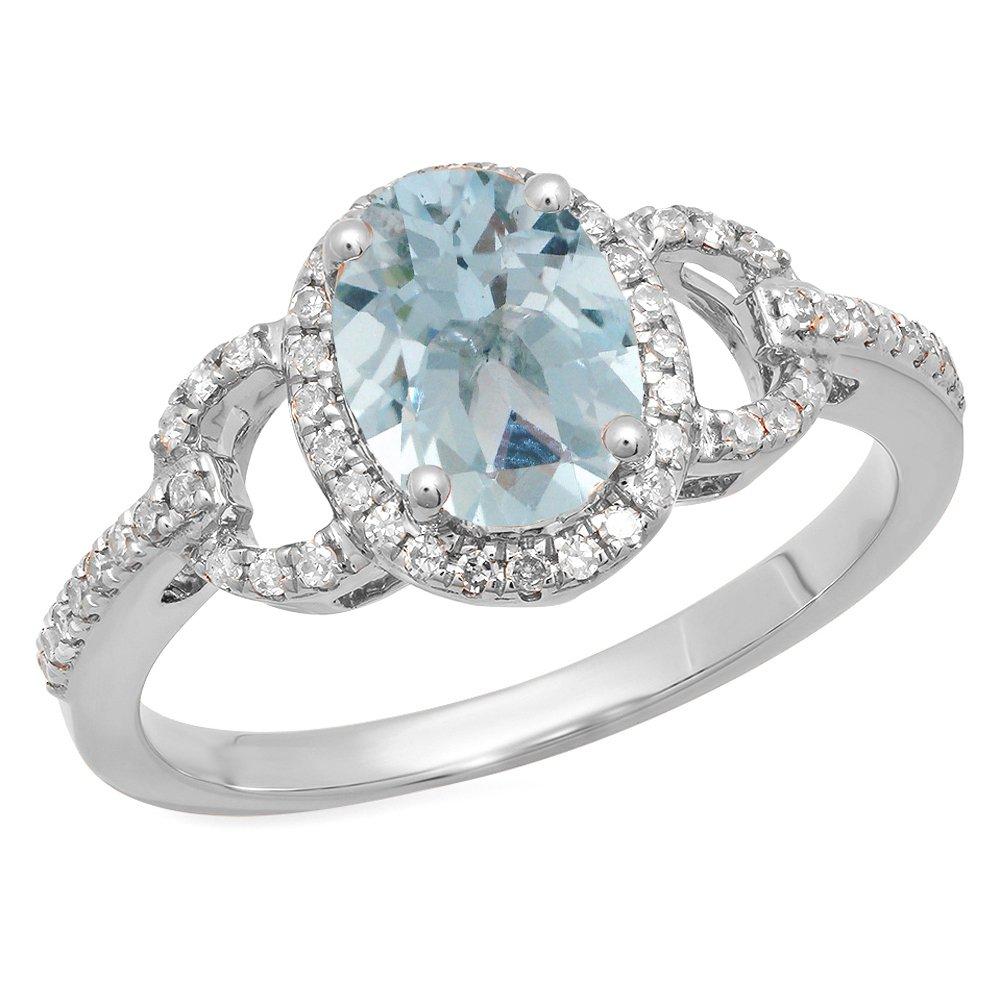 14K White Gold Oval Aquamarine & Round White Diamond Bridal Halo Style Engagement Ring (Size 6.5)