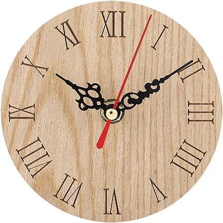 Wifehelper Reloj de Pared Decorativo Clásico Pantalla de Madera Analógica Decoración Jardín Pasillo Sala de Estar Al Aire Libre Oficina Hotel Colgante Reloj de Pared(Diameter:12cm): Amazon.es: Hogar