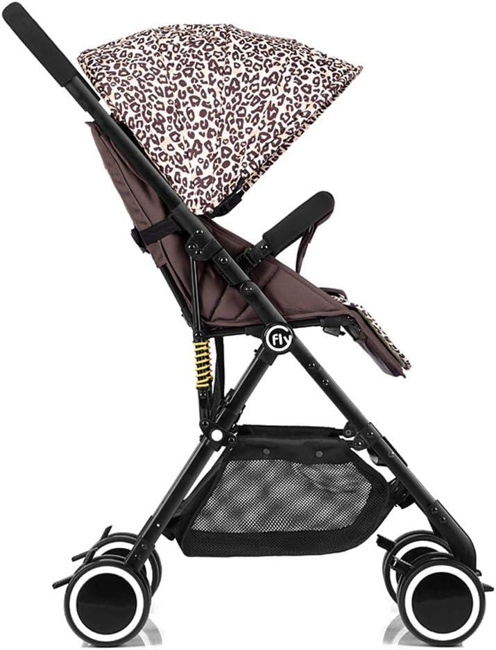 Kinderwagen-Hochlandschafts-Ultra Heller tragbarer liegender Baby-faltender Wagen, Grün/Rosa/Blau/Leopard-Druck, 68 * 48 * 105cm (Color : Pink) Leopard