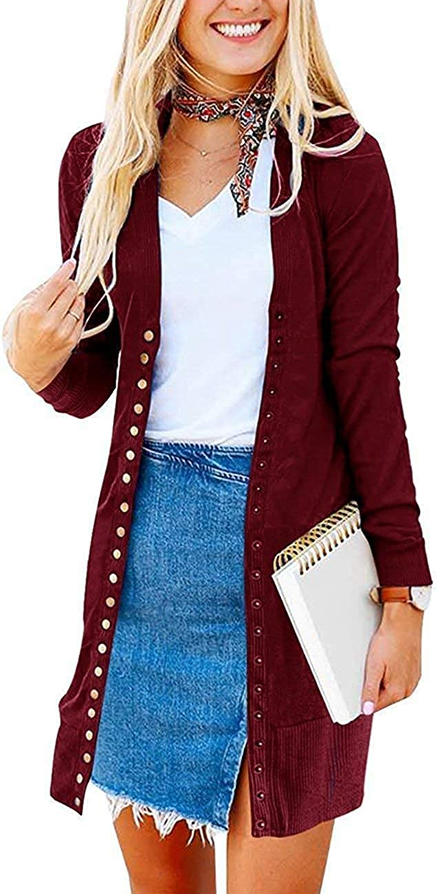 Womens S-3XL Solid Button Front Knitwears Long Sleeve Casual Cardigans