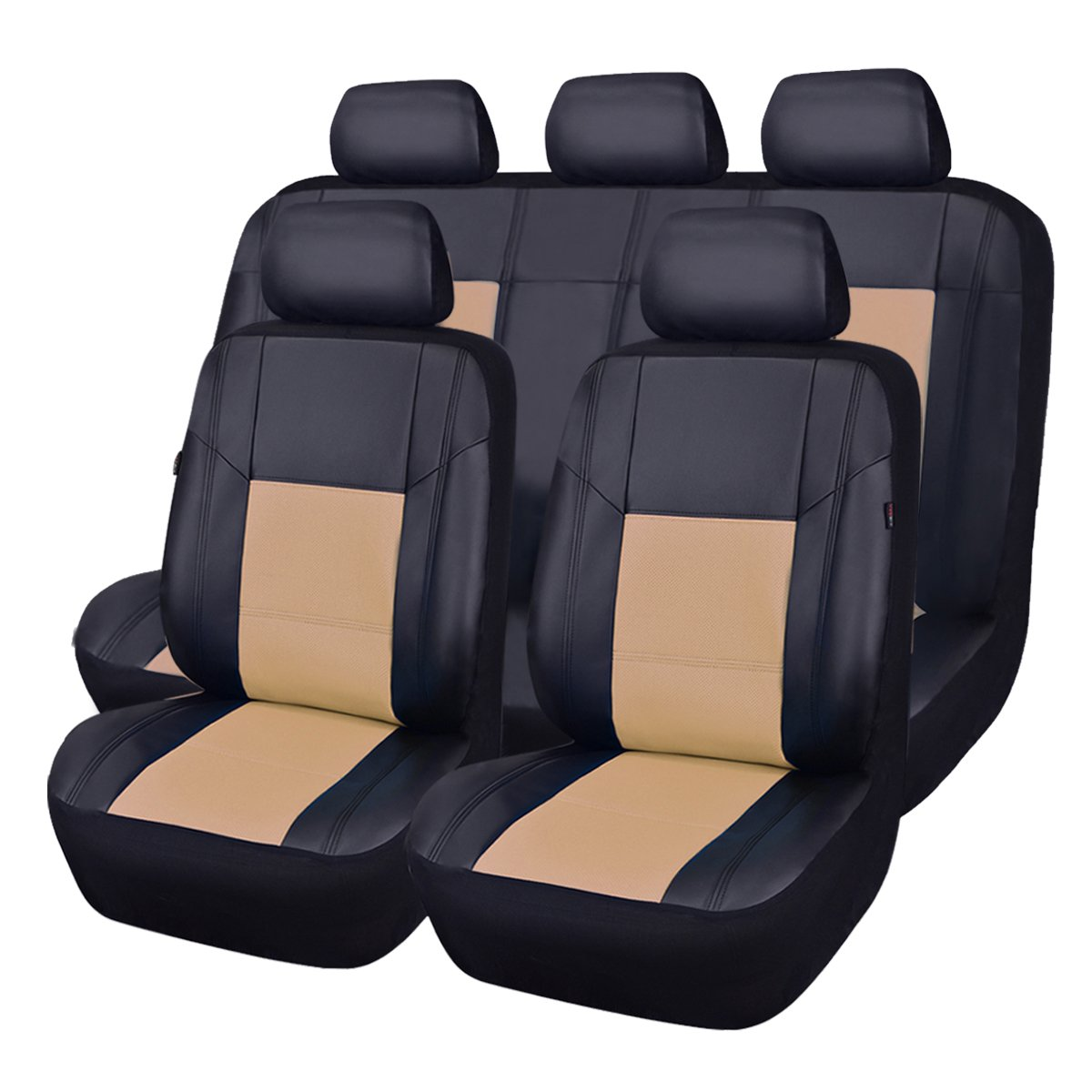 NEW ARRIVAL- CAR PASS Skyline PU LEATHER CAR SEAT COVERS - UNIVERSAL FIT FOR CARS,SUV,VEHICLES (11PCS, ELEGANT BLACK) ZT-0012