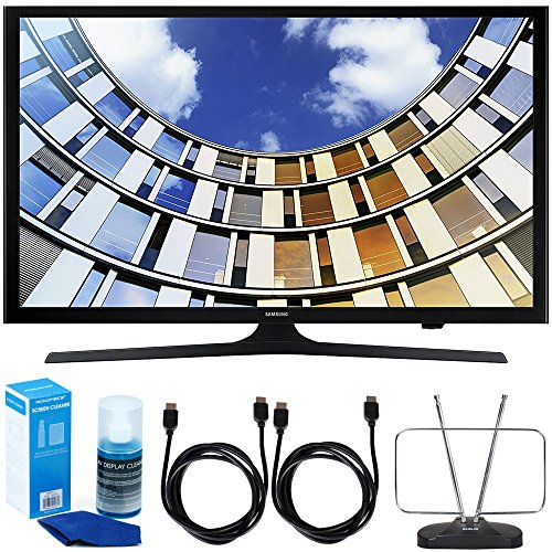 """Samsung UN43M5300AFXZA 43"""" LED 1080p 5 Series Smart TV (2017 Model) Bundle with TV, 6ft High Speed HDMI Cable x 2, HDTV and FM Antenna, and Universal Screen Cleaner"""