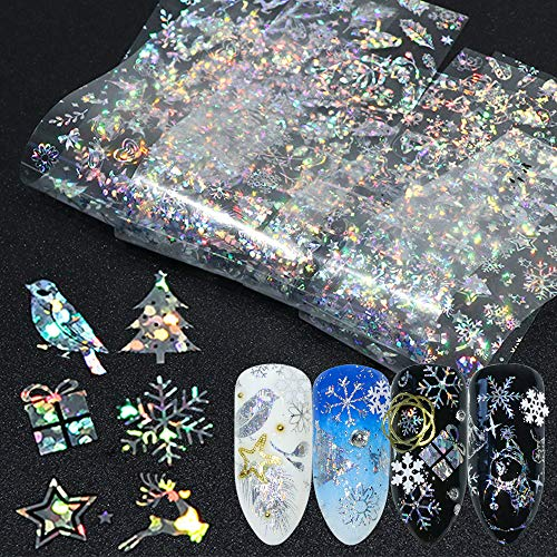 8pcs Christmas Foils For Nail Holographic Laser Nails Transfer Foil Wraps Sticker Clear/Black Starry Tip Snowflake Elk -