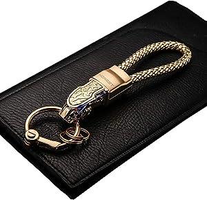 Leather Cord Key Chain Car Keychain Detachable Car & Home Keychain Leopard Head Car Keychain Metal Leopard Head with Blue Diamond Eyes Creative Metal Leather Rope Car Pendant,Gold