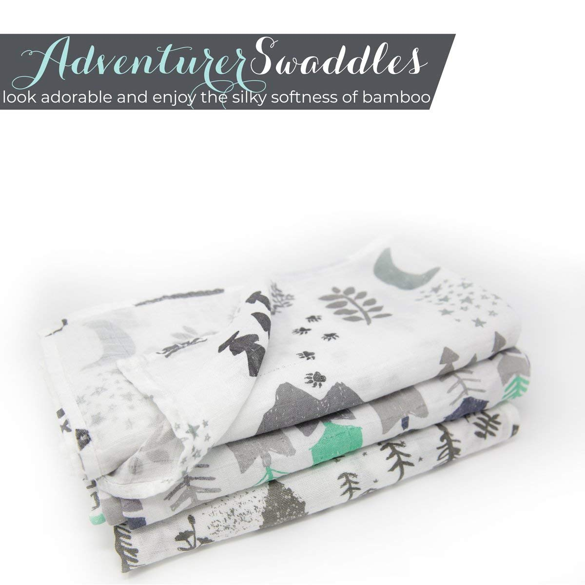 Muslin Swaddle Blanket Set 'Adventurer' Large 47x47 inch | Super Soft Bamboo Blankets | Arrow, Feather and Stars | 3 Pack Baby Shower Gift Bundle of Swaddles for Boys and Girls | 10,000 Wash Warranty by Kids N' Such (Image #9)