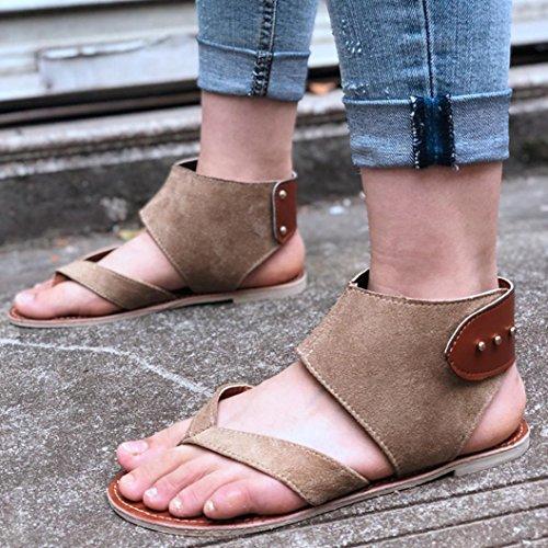 FORUU Summer Women Sandals Flats Fashion Shoes Casual Rome Style Sandals Casual (37, Khaki) by FORUU womens shoes (Image #2)