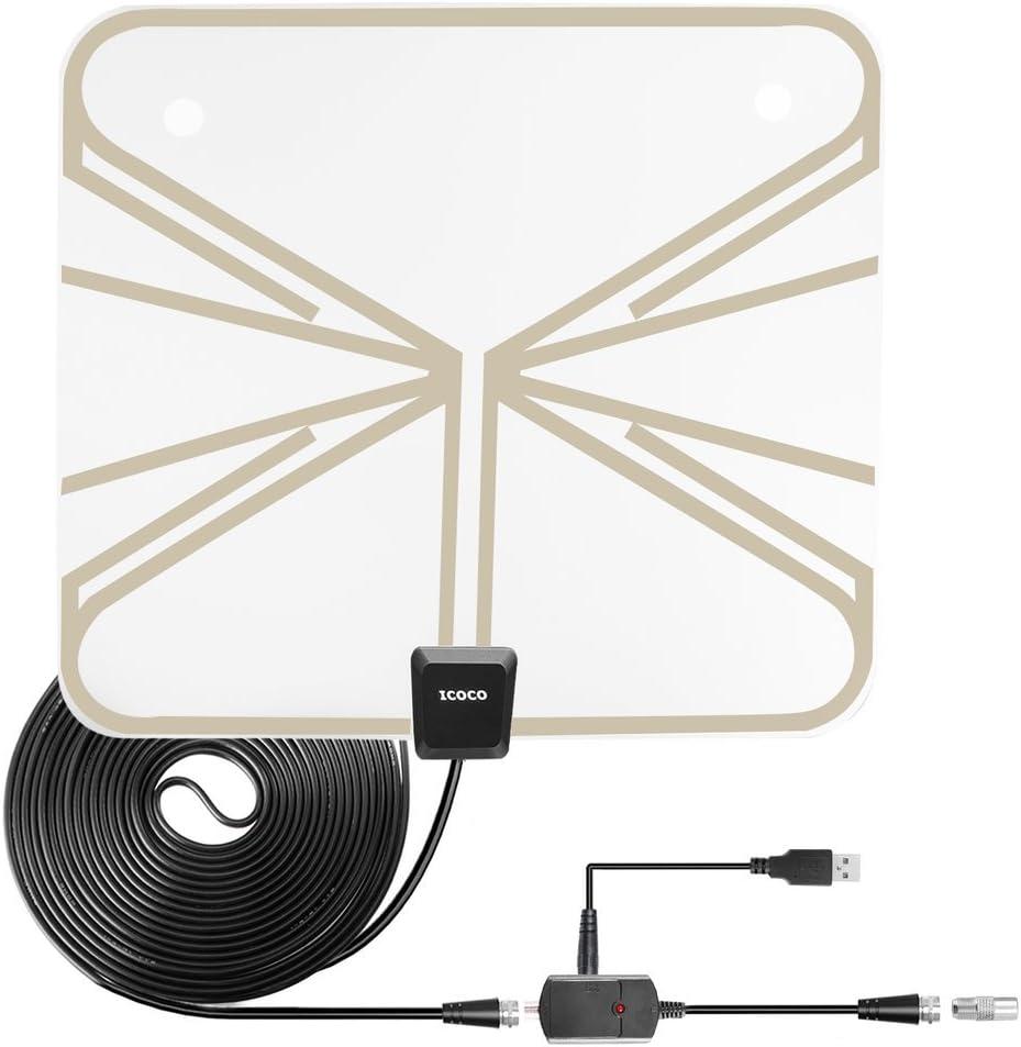 Antena de TV Interior Portatil, ICOCO Antena Digital HDTV, 5M Cable de alto Rendimiento, Amplificador Ultra Delgado de señal USB para reforzar las ...