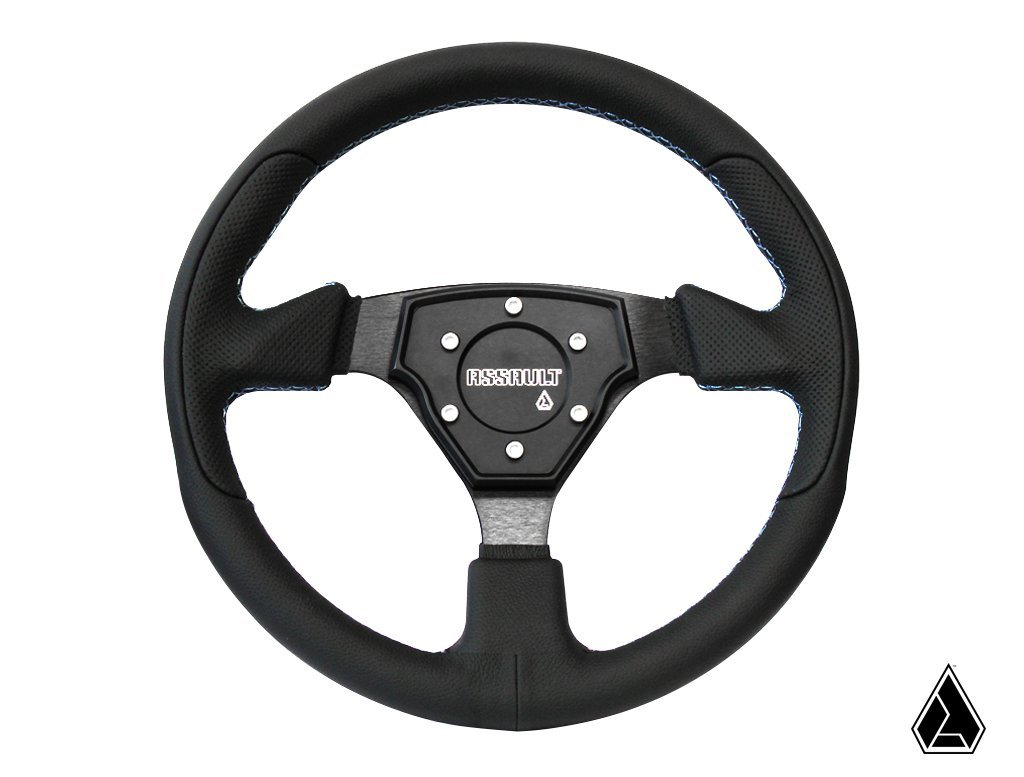 Assault Industries 101005SW0107 Black//Orange Stitch Tomahawk Steering Wheel with Billet Front Plate