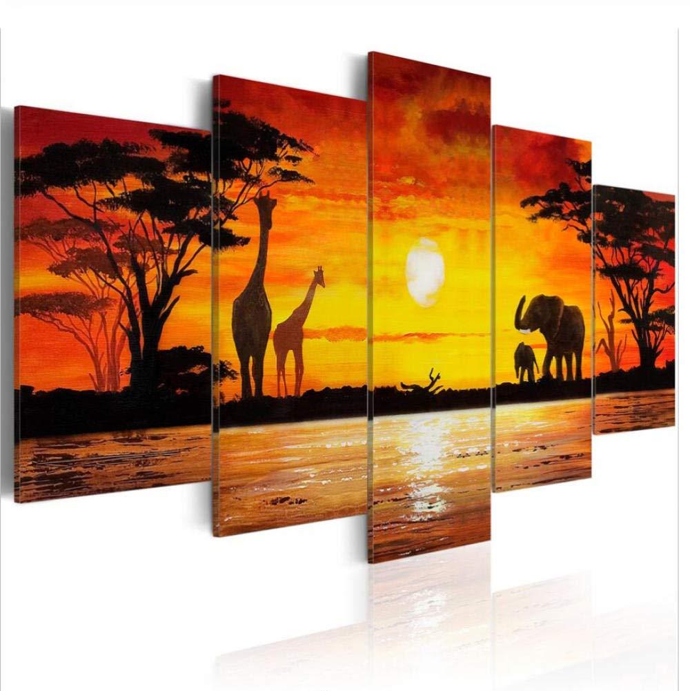 nvhaishiwo Pinturas 5 Piezas Impresi/ón de la Lona Arte de La Pared Los Animales Jirafas Y Elefantes para la Decoraci/ón del Hogar Paisaje