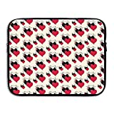 Jingclor Business Briefcase Sleeve Love Heart Seamless Art Laptop Sleeve Case Note PC Cover Handbag