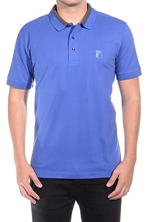 Versace Collection Men Medusa Logo Solid Cotton Colar Trim Polo Shirt Blue bae6f9d3c5e4