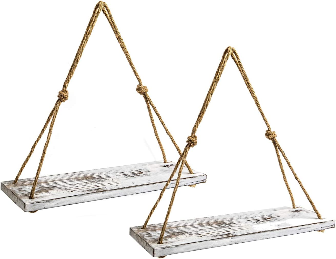 "Y&ME Set of 2 Wood Hanging Shelves for Wall,White Rope Hanging Shelves with 4 Hooks for Home Wall Decor, 17""x 6""x 0.7"",Rustic White Hanging Shelf"