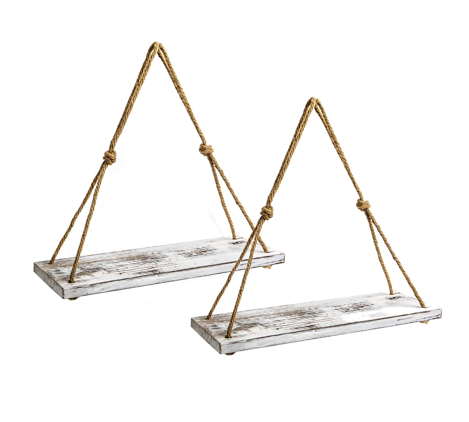 Y&ME Set of 2 Wood Hanging Shelves for Wall,White Rope Hanging Shelves with 4 Hooks for Home Wall Decor, 17''x 6''x 0.7'',Rustic White Hanging Shelf