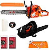 "62CC 20"" PETROL CHAINSAW + 2 x CHAINS - CARRY BAG - BAR COVER - TOOL KIT - ASSISTED START"