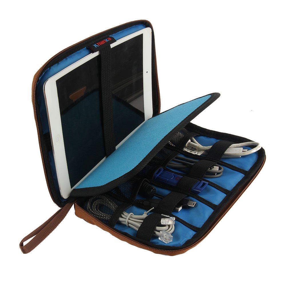 Khanka Portable Universal Electronics Accessories Travel Carrying Organizer  Case For Various USB Cable, External Hard Drive, Apple iPad Mini, Samsung