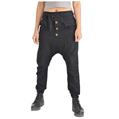 d1eff27fac4f Siamrose Harem Pants Men Women Baggy Pants Drop Crotch Pants Yoga Pants  (Black) at Amazon Women's Clothing store: