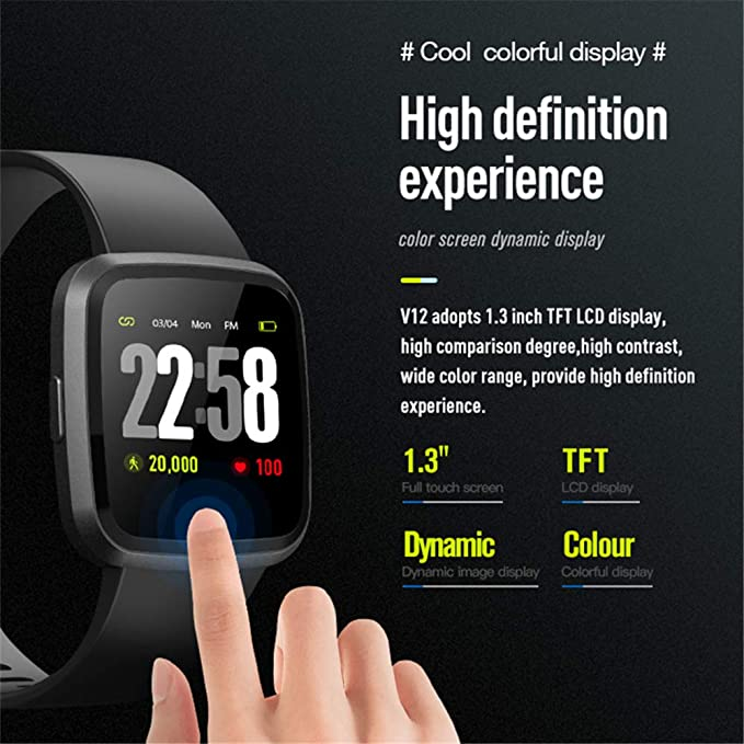 Amazon.com: 2019 Version H4 Smartwatch for Men&Women / Health Watch Heart Rate Blood Pressure Sleep Monitor / Sports Watch Fitness Activity Tracker for ...
