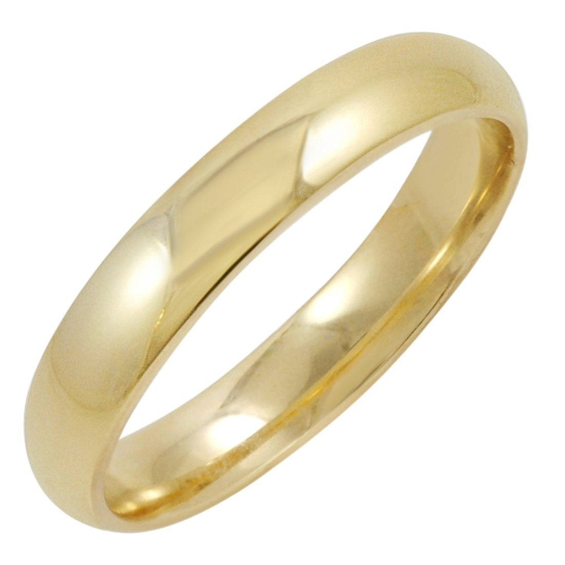 Men's 14K Yellow Gold 4mm Comfort Fit Plain Wedding Band (Available Ring Sizes 8-12 1/2) Size 8 by Oxford Ivy (Image #1)