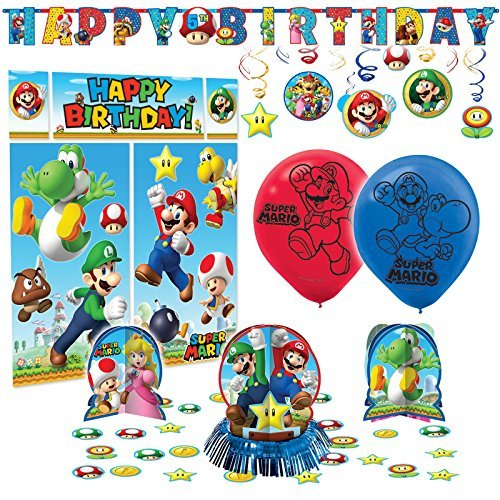 Price comparison product image Super Mario Bros Premium Birthday Party Pack Decoration Kit Childrens