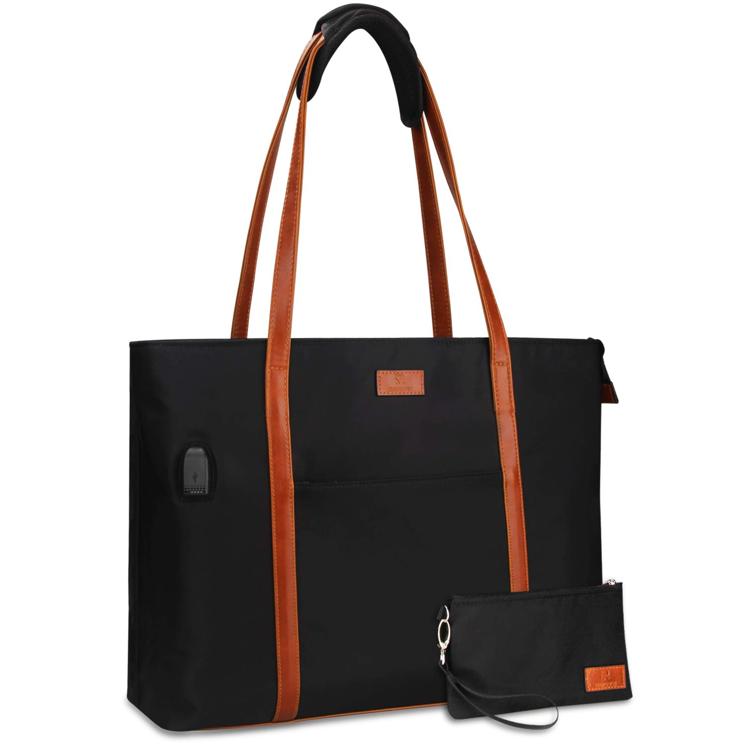 Laptop Tote Bag for Women Teacher Work Office USB Bags Fits 15.6 inches Laptop (Black and Brown Strap) by Relavel