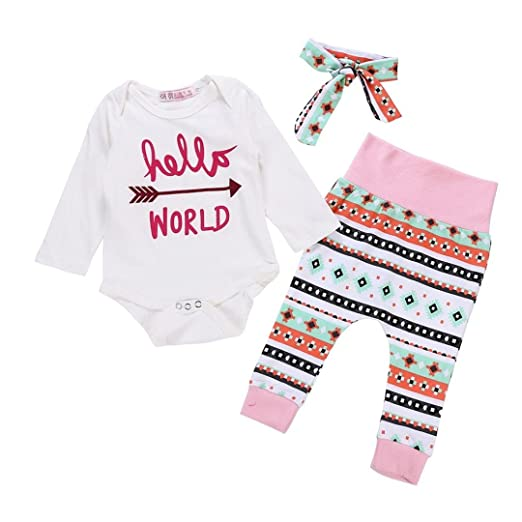 a0b7cc966c09 Amazon.com  Hatoys 3PCS Newborn Baby Letter Arrow Print Romper ...