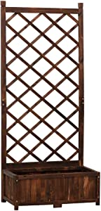 Anjor Rustic Planter Box with Trellis Raised Garden Bed Wood Outdoor for Plants