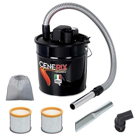 Aspirador para cenizas eléctrico Cenerix 1200 W – 18 L con doble filtro, lanza plana
